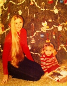 Christmas morning was always a special time. Mom and I made popcorn and cranberry garland (seen on the tree) every year.