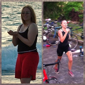 O.k. I'm being brave and showing before and after pics. On the left, me at 180 pounds and sick. On the right, me at 130 pounds running to the finish line to win my age division in a triathlon.